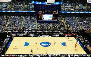The NCAA Tournament plays out in huge arenas before tens of thousands of fans.
